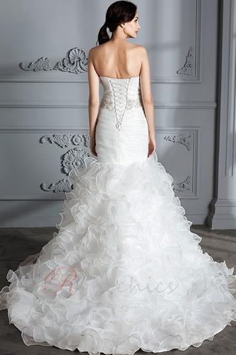 Robe de mariée Traîne Courte Lacet Col en Cœur Perle Sirène Chapelle - Page 2