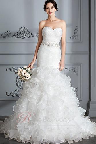 Robe de mariée Traîne Courte Lacet Col en Cœur Perle Sirène Chapelle - Page 1
