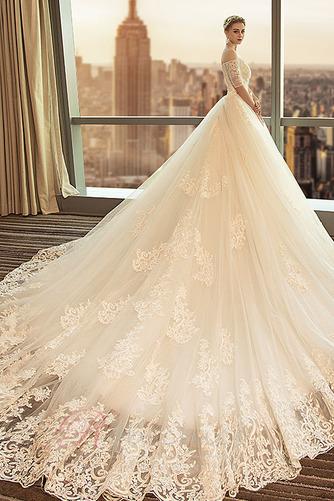 Robe de mariée Cathédrale a ligne Manche Courte Formelle Manquant - Page 3