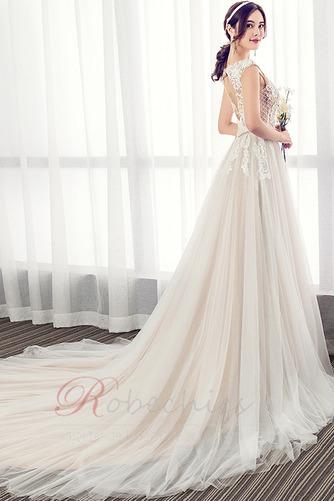 Robe de mariée Luxueux Poire Tissu Dentelle a ligne Col en V Haut Bas - Page 3