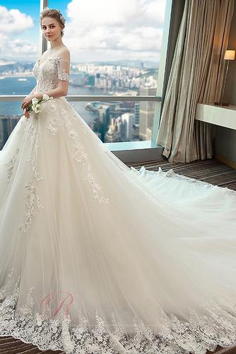 Robe de mariée Eglise Manche Aérienne Lacet Long Automne Formelle - Page 3