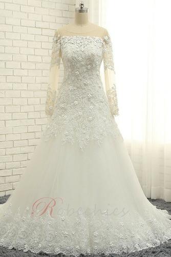 Robe de mariée Longueur ras du Sol A-ligne Lacet Manche Aérienne - Page 1