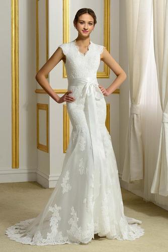 Robe de mariée Hiver Plage Poire Col en V Sans Manches Modeste - Page 1