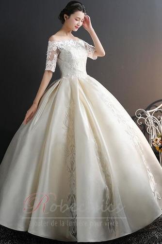 Robe de mariée Chaussez Satin Épaule Dégagée a ligne Appliques - Page 5