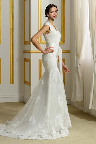 Robe de mariée Hiver Plage Poire Col en V Sans Manches Modeste - Page 3
