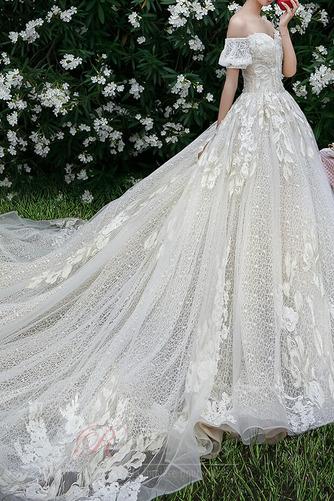 Robe de mariée Froid Lacez vers le haut Tulle Cérémonial Manche Courte - Page 4