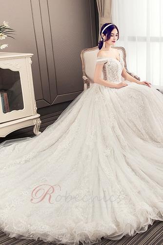 Robe de mariée Longue Perle Elégant Épaule Dégagée Chaussez A-ligne - Page 4