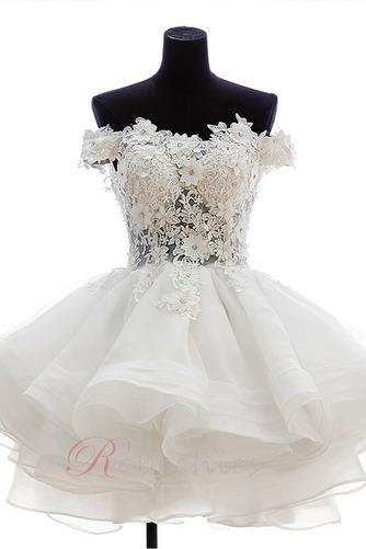 Robe de mariée Zip Bouton Épaule Dégagée Été De plein air Courte - Page 5