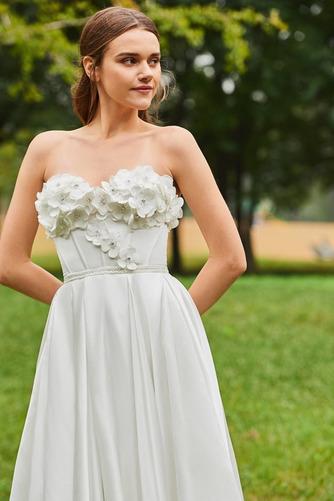 Robe de mariée Froid Satin Appliquer Sans Manches Poire De plein air - Page 4