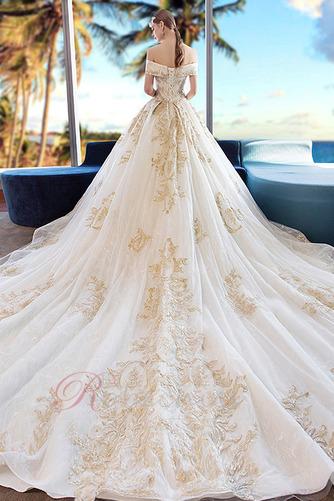 Robe de mariée Formelle A-ligne Chapelle Lacet Sablier Satin - Page 2