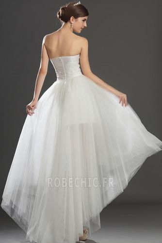 Robe de mariée Asymétrique Taffetas Zip col coeur Appliques Blanche - Page 6