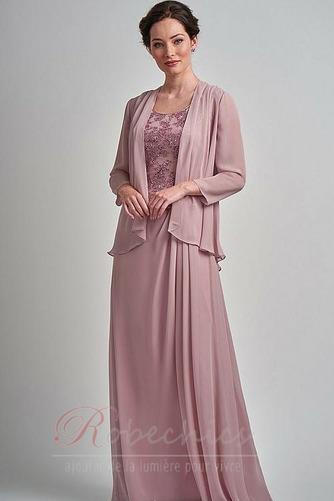 Robe Mère de Mariée Formelle Appliques Col rond A-ligne Sans Manches - Page 1