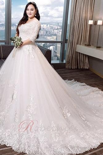 Robe de mariée Satin Plus la taille Froid Longue aligne Eglise - Page 2