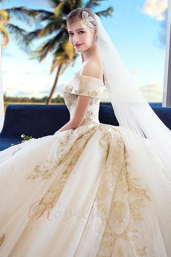 Robe de mariée Formelle A-ligne Chapelle Lacet Sablier Satin - Page 4