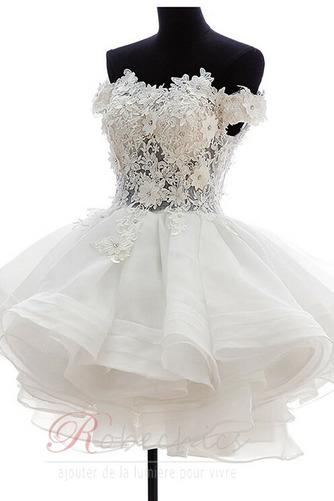 Robe de mariée Zip Bouton Épaule Dégagée Été De plein air Courte - Page 1