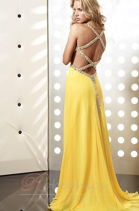 Robe de soiree jaune or