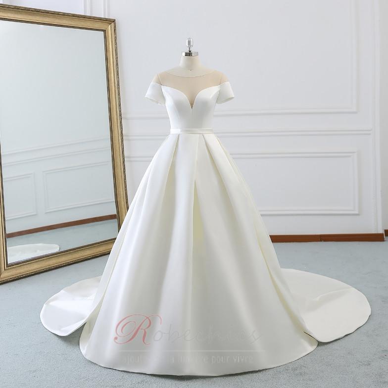 Robe de mariée Chaussez A-ligne Soie Naturel
