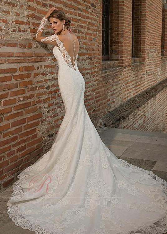 dernière sélection Design moderne classcic Robe de mariée Sirène Plage Tissu Dentelle Traîne Mi-longue ...