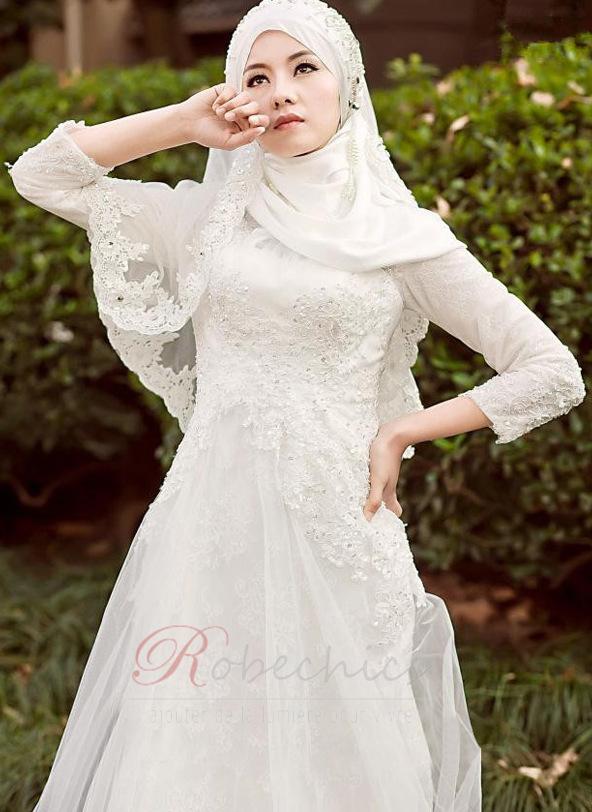 Assez Robe de mariée Naturel taille Tulle Perle Haute Couvert Col haut  RB12