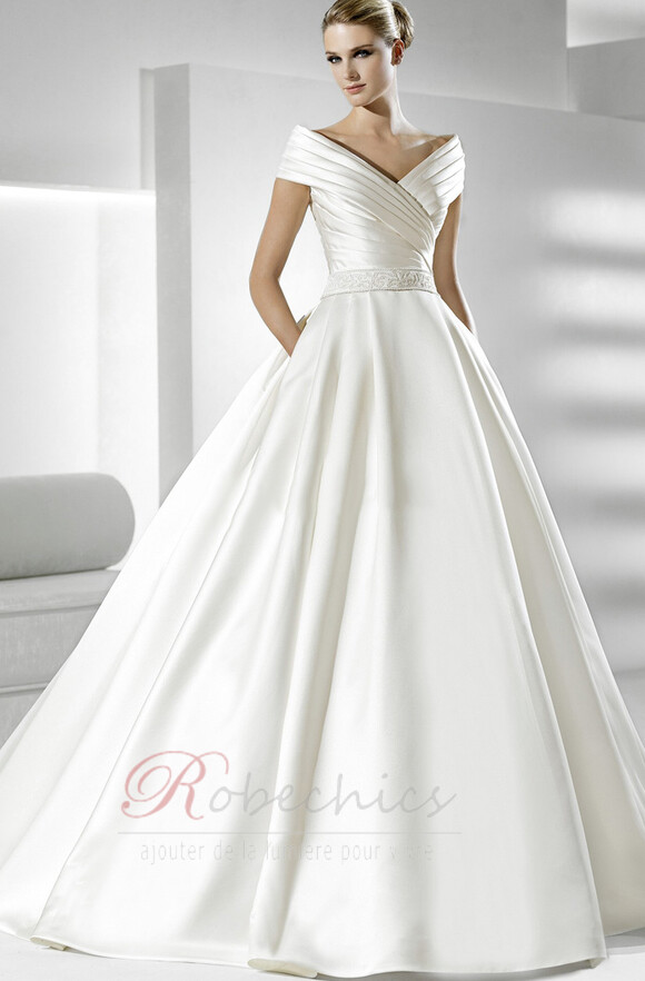 Robe de mariée Fourreau plissé Eglise Satin