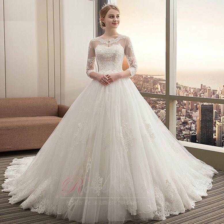 Robe de mariée Traîne Royal Cérémonial Couvert